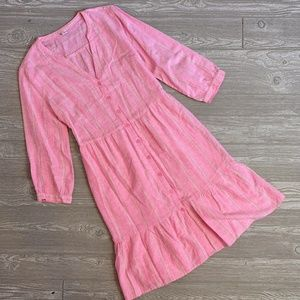 NWT Old Navy Pink Button Down Striped Dress - M